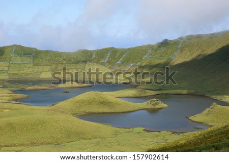 Volcano crater with lakes on the island of Corvo Azores Portugal - stock photo