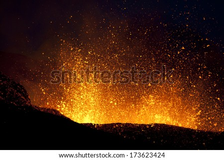 Volcano Eruption in Iceland, Fimmvorduhals. This eruption is between Eyjafjallajokull and Myrdalsjokull. - stock photo