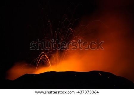 Volcano Etna Eruption   - stock photo