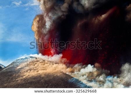 Volcano Etna Eruption - 12 April 2012 - stock photo
