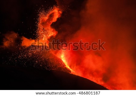 Volcano Etna eruption in Sicily