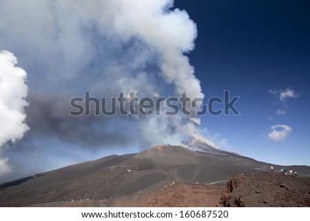 Volcano Etna eruption, 26 October 2013 - Catania, Sicily - stock photo