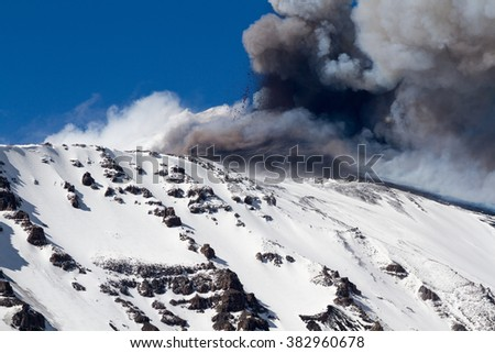 Volcano etna eruption with explosion and ash emission - stock photo