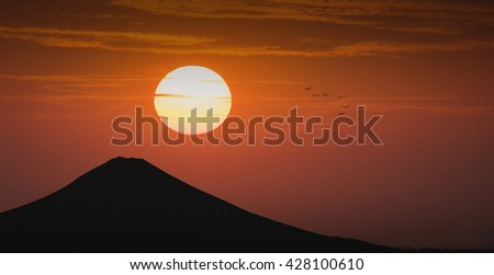 volcano fuji on sunset , silhouette