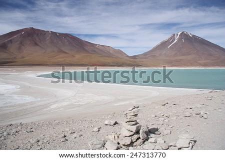 Volcano Licancabur and Laguna Verde, Altiplano, Bolivia - stock photo