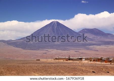 Volcano Licancabur view from San Pedro de Atacama, Chile, South America - stock photo