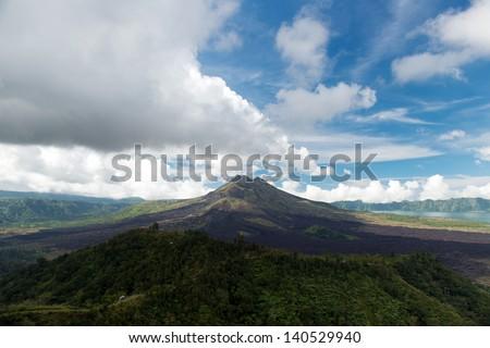 Volcano Mount Batur landscape at Kintamani Bali Indonesia - stock photo