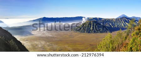 Volcano Mount Bromo at sunrise, East Java, Indonesia, Asia - stock photo