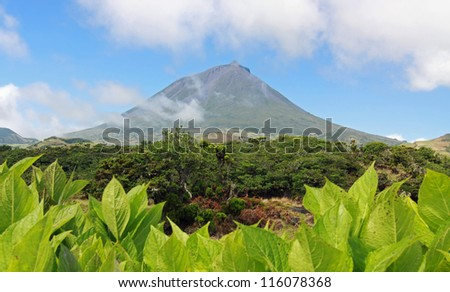 Volcano Mount Pico at Pico island (Azores Islands) 01 - stock photo