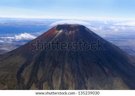 Volcano Ngauruhoe,  New Zealand - stock photo