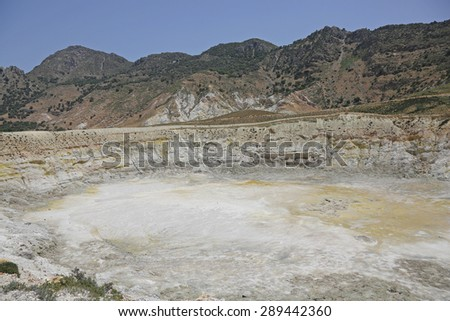 volcano on the island of Nisyros, Greece - stock photo