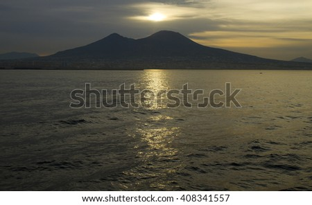 volcano vesuvius near naples at sunrise