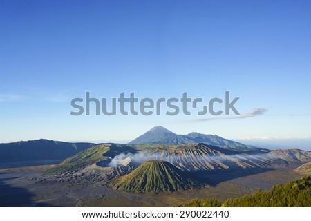 Volcanoes at Bromo Tengger Semeru National Park, East Java, Indonesia - stock photo