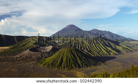 Volcanoes in Bromo Tengger Semeru National Park at sunrise. Java, Indonesia - stock photo
