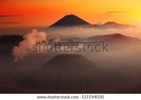 Volcanoes in Bromo Tengger Semeru National Park at sunset. Java, Indonesia - stock photo