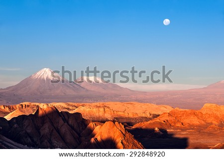 Volcanoes Licancabur and Juriques, Moon Valley, Atacama, Chile - stock photo