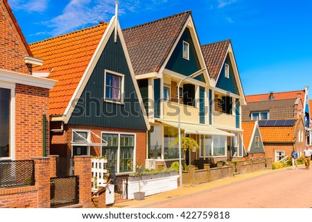 VOLENDAM, NETHERLANDS - MAY 2, 2015: House in the harbour of Volendam, Netherlands. Volendam is a popular touristic destination in North Holland