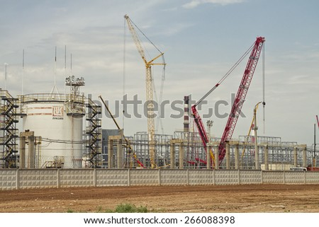 VOLGOGRAD - JUNE 9 : The construction of a plant for processing of oil on the territory of Volgograd refinery LUKOIL. June 9, 2014 in Volgograd, Russia