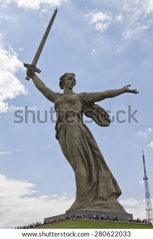 VOLGOGRAD - MAY 10: Views of the statue of the Motherland is calling Mamayev Kurgan. May 10, 2015 in Volgograd, Russia.