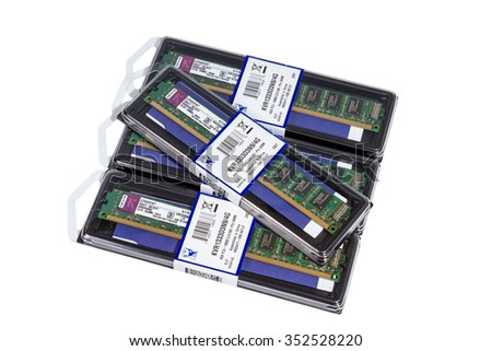 VOLGOGRAD, RUSSIA - CIRCA MAY, 2011: computer random access memory (RAM) modules DDR3 Form Factor Kingston on the white background - stock photo