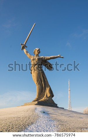 "Volgograd. Russia - January 4, 2018. Sculpture ""Motherland!"" memorial complex on Mamayev Hill in Volgograd, sculptor Yevgeny Vuchetich in the winter"