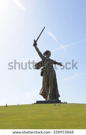 "VOLGOGRAD, RUSSIA - JUNE 4, 2014: The monument ""the Motherland calls"" of the Mamaev Kurgan in Volgograd. The hero city, the place of the battle of Stalingrad."
