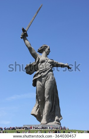 VOLGOGRAD, RUSSIA - May 9, 2015: a Monument to the woman-the mother calling for the protection of the Motherland from Nazi invaders. Installed Museum-reserve Stalingrad battle. Volgograd, Russia