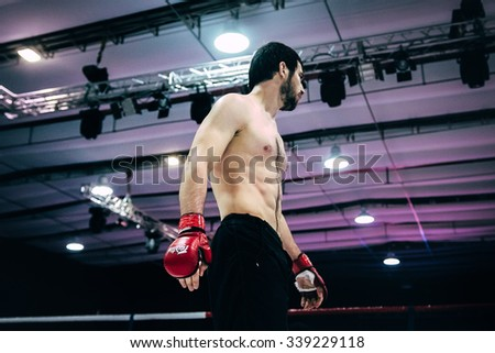 Volgograd, Russia - October 24, 2015: athlete MMA close up before fight during Championship of Russia on mixed martial arts - stock photo