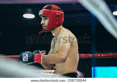 Volgograd, Russia - October 24, 2015: mixed martial arts athlete before fight during Championship of Russia on mixed martial arts - stock photo
