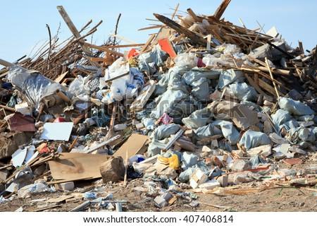 Volgograd, Russian Federation - September10, 2015: Large garbage dump waste - stock photo