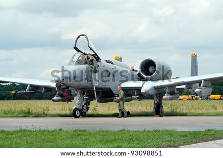 VOLKEL, NETHERLANDS - JUNE 16: USAF A-10A THUNDERBOLT on display Royal Netherlands Air Force Days on June 16, 2007 in Volkel, Netherlands. - stock photo