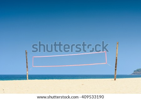 Volley ball beach net with blue sky in summer day - stock photo