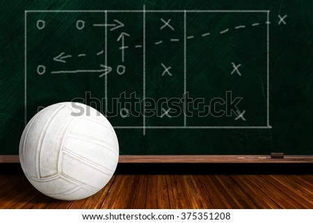 Volleyball and play strategy drawn on a background chalk board with copy space. - stock photo