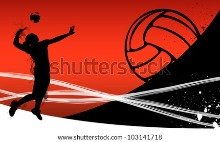 Volleyball background with space (poster, web, leaflet, magazine) - stock photo