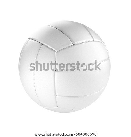 Volleyball ball isolated on the white background without shadow. Sport equipment detailed with stitches and textured surface.