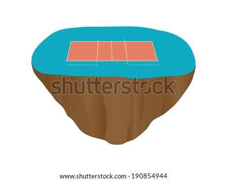 Volleyball Court Floating Island - stock photo