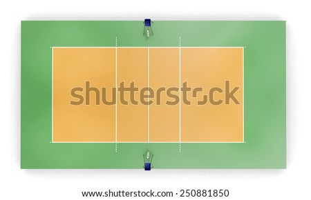 Volleyball court or field top view proper markings and proportions according standards.  - stock photo