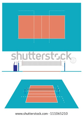 Volleyball Court with Section and Perspective - stock photo