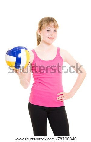 Volleyball girl with the ball. - stock photo