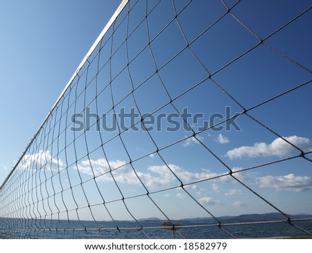Volleyball net against the sky