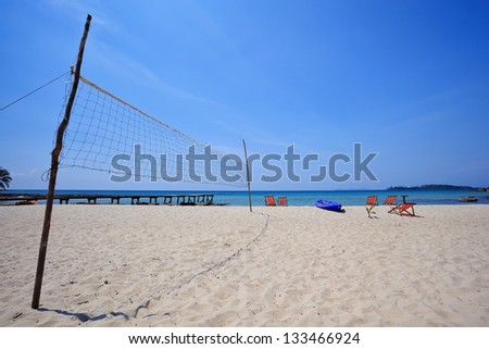 volleyball net on the beach - stock photo