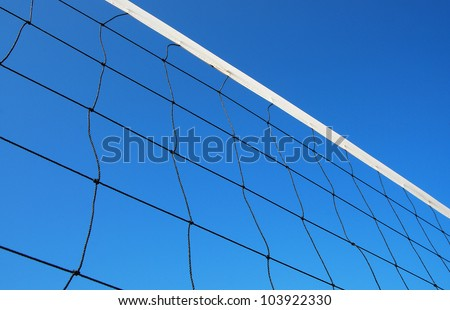 Volleyball net on the beach blue sky for background design - stock photo