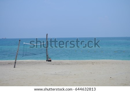 Volleyball net on the beach for tourism playing