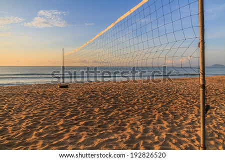 Volleyball net on the beach on summer. - stock photo