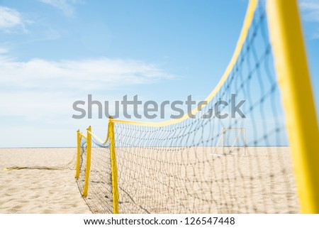 Volleyball Net Stretched on Beach - stock photo