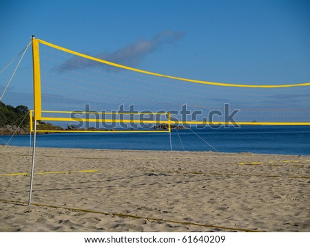 Volleyball nets erected and ready for beach volleyball tournament. - stock photo