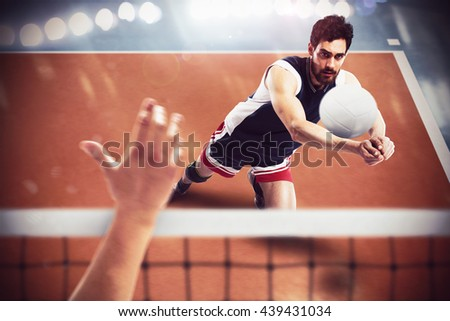 Volleyball player in action - stock photo