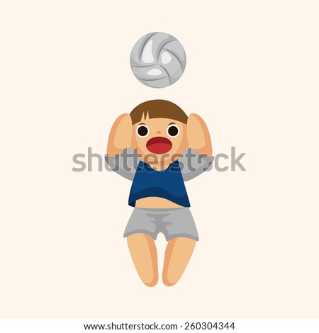 volleyball player theme elements - stock photo