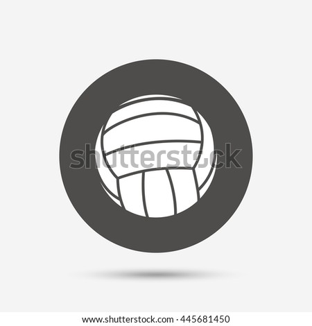 Volleyball sign icon. Beach sport symbol. Gray circle button with icon.