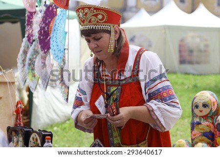 Vologda, RUSSIA - July 4: Portraits of people at the street festival of folk art in Russia on July 4, 2015, in Vologda, Russia